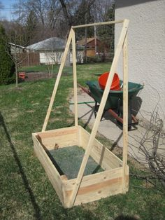 Cucumber trellis box- add chicken wire to the angled side, plant lettuce behind it so the cucumber vines provide shade.