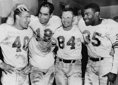 NOT A DETROIT NEWS IMAGE source-United Press Telephoto December 16, 1957 Roaring Lions- Four key men get together in the dressing room after the Lions' 21-13 victory yesterday over the Chicago Bears. Left to right Howard Cassady, who scored the first touchdown; Tobin Rote and Dave Middleton, who combined on a pass play for the second score, and John Henry Johnson. who plunged two yards for the final touchdown.