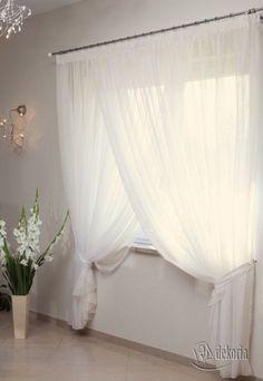 Firana Amelia zakładkowa z podwiązkami, ecru/ołowianka, - Dekoria Dining Room Curtains, Home Curtains, Window Coverings, Window Treatments, British Colonial Decor, Households, Apartment Interior, Charlotte, Sweet Home