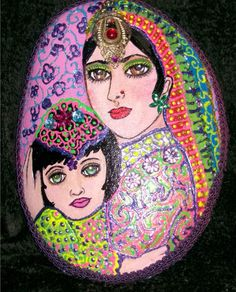 Exotic Hand Painted Rock of Mother and Child | eBay
