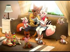 mangle and foxy with their kids.I so ship them! Foxy And Mangle, Fnaf Wallpapers, 2 Kind, Fnaf Drawings, Funtime Foxy, Fnaf Sister Location, Circus Baby, Little Poney, Horror Movies
