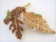 Excited to share the latest addition to my shop: KJL Leaf Brooch, Signed Kenneth J Lane, Rhinestone Mid Century Early Leaf Pin Vintage Rhinestone, Vintage Brooches, Vintage Jewelry, Unique Jewelry, Art Deco Necklace, Glass Necklace, Large Crystals, Blue Crystals, Crystal Brooch