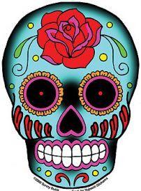 A bright blue rose tattooed Sugar Skull. Happy Dia de los Muertos! Weather-resistant, extra long-lasting. Size: 3.75'' x 6'' Artist: Sunny Buick