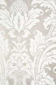Metallic silver damask wallpaper with mottled pattern throughout and elegant white motif. From Cole and Son Albemarle Collection 2012 Accent Wallpaper, Damask Wallpaper, Home Wallpaper, Designer Wallpaper, Pattern Wallpaper, Cole And Son, Origami, Yellow Fabric, Wall Treatments