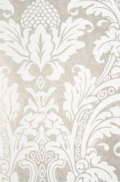 Blake Damask Wallpaper Metallic silver damask wallpaper with mottled pattern throughout and elegant white motif.