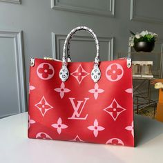 Louis Vuitton Monogram Canvas Onthego GM Rouge aptly named Onthego tote bag goes shopping, to work or off for the weekend. Monogram Tote, Monogram Canvas, Louis Vuitton Monogram, Vuitton Bag, Louis Vuitton Handbags, Purses And Handbags, Replica Handbags, Handbags Online, Zapatillas Louis Vuitton