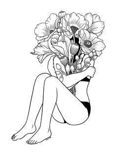 Love Myself by Henn Kim  #love #loveyourself #loveislove #wallart #art #flower #society6 #homedecor #interior #woman #tattoos