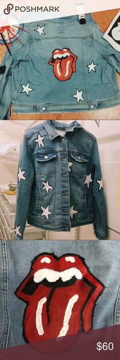 Hand painted denim jacket with Rolling Stones logo Women's size large medium wash denim jacket hand painted by me and my sister. White stars on the front and white stars on the back along with The Rolling Stones logo. Denim Jackets, Jean Jackets, Dope Shirt, Painted Denim Jacket, Denim Art, Painted Clothes, T Shirt And Jeans, Halloween 2018, Diy Clothing