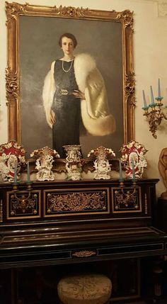 Beautiful Painting with Antique Cabinet.