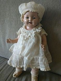 "18"" vintage 1930's Effanbee Composition cloth Lovums Baby Doll"