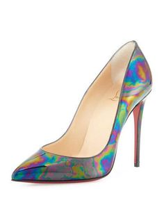 X34Z8 Christian Louboutin Pigalle Follies Iridescent 100mm Red Sole Pump, Black/Oil