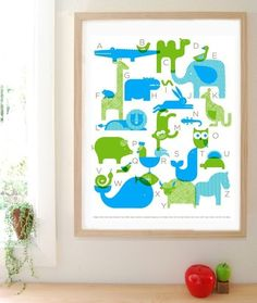 Animal Alphabet Silkscreen Poster by Petit Collage