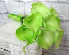 Calla lily Wedding bouquet lime apple by BrideinBloomWeddings