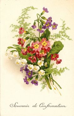 Lily of the Valley Violets & Pink Flowers Bouquet Antique