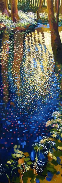 """A rough copy of Ton Dubbeldam's beautiful painting: Early Spring, 10 by 29.5 inches, oil on wood panel (original is 16"""" x 47"""")"""
