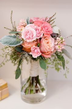 Summer time bridesmaid bouquet in peach and pink Hillary+Jeff :: Floral Wedding Decorations, Flower Decorations, Wedding Flowers, Diy Wedding Inspiration, Wedding Ideas, Always A Bridesmaid, Bridesmaid Bouquet, Handmade Wedding, Garden Wedding