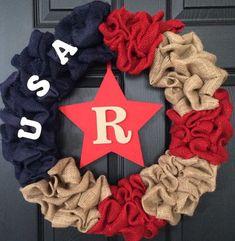 USA Patriotic Burlap Wreath 4th of July by WreathsUrWay on Etsy