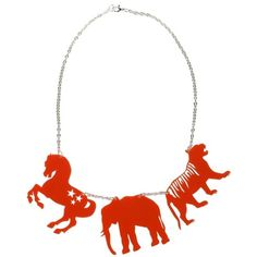 HABERDASH HOUSE Perspex circus animal necklace (3.375 RUB) ❤ liked on Polyvore featuring jewelry, necklaces, accessories, red, circus, women, charm chain necklace, elephant charm necklace, star charm necklace and red necklace