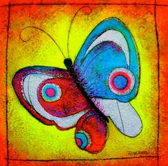 ©Thelma Zambrano - Mariposa para Irene - Técnica mixta sobre lienzo 70 x 70 cm. Colección Privada