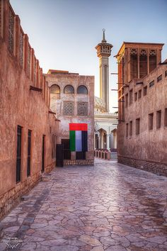 As you wander south down the Creek on the Bur Dubai side, you will eventually come to the Bastakiya area, which used to be the Iranian Quarters .
