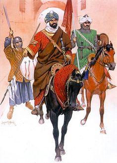 Emir of the Almohad dynasty Yaqub al-Mansur with his bodyguard, Yakub al-Mansur…