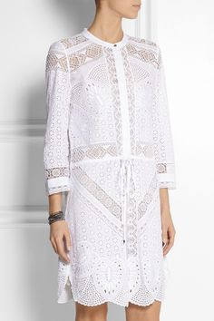 Roberto Cavalli | Broderie anglaise cotton mini dress | NET-A-PORTER.COM