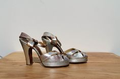 Platform High Heels / Silver Leather by TheTurtleAndTheRay Closet Decoration, Silver High Heels, Platform High Heels, Cute Shoes, 1940s, Notebook, Sandals, Amazing, Leather