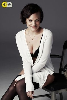 Not endorsing the cleavage, but her hair looks awesome here - Elisabeth Moss photographed by Steven Pan in GQ magazine, April Elizabeth Moss, Margaret Atwood, Mad Men Actors, Gq Magazine, Celebs, Celebrities, Videos, Sexy Men, Beautiful Women