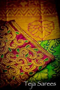 South Indian Blouse Designs, Blouse Neck Designs, Sleeve Designs, Hand Work Blouse Design, Aari Work Blouse, Cutwork Embroidery, Embroidery Designs, Bridal Sarees South Indian, Maggam Work Designs