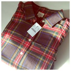 J. Crew tartan perfect shirt 100 % cotton.  Gorgeous tartan plaid.  Perfect alone or layered.  From Factory J. Crew Tops