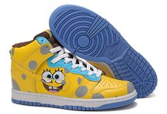 new arrival 52298 a6aa9 SpongeBob SquarePants Nike Dunks Hightops Yellow Shoes High Shoes, Top  Shoes, Childrens Shoes,