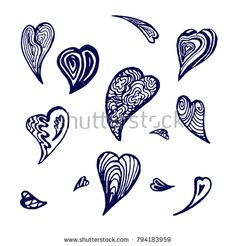 Set of hand drawn hearts. Vector elements