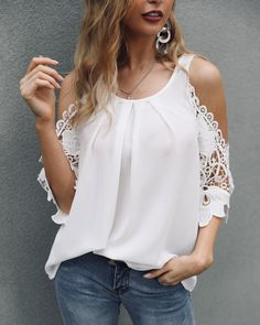 Lace Crochet Cold Shoulder Pleated Blouse Women's Online Shopping Offering Huge Discounts on Dresses, Lingerie , Jumpsuits , Swimwear, Tops and More.