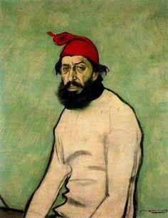 Ramon Casas i Carbó (Catalan, - Portrait of Pere Romeu Spanish Painters, Spanish Artists, Latino Artists, Portraits, Portrait Art, Ramones, Picasso Cubism, Barcelona, Modernisme
