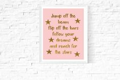 Gymnastics Quote Art Printable | Nadia Comaneci Quote | Gifts for Gymnasts | Pink and Gold | Gymnastics Art Print | Pink | Printable | Print