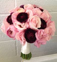 Enchanted Florist Las Vegas- pale pink roses and lisianthus with burgundy ranunculus.