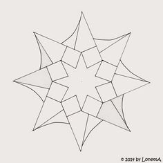 LonettA_Star#3_template Rangoli Patterns, Zentangle Patterns, Rangoli Designs, Outline Drawings, Animal Drawings, Animal Outline, Geometric Fashion, Mandala Coloring Pages, English Paper Piecing
