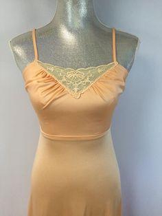 Womens Vintage Peach Orange Lingerie Slip Made in the USA S #unknown #FullSlips