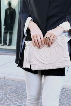 Blushes and Nudes for Fall- H&M Clutch and Winter Cape