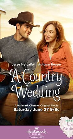 "***""A Country Wedding"" Hallmark Channel Original Movie. Sparks fly when an engaged country-music star (Jesse Metcalfe) reconnects with a childhood friend (Autumn Reeser). Hallmark Channel, Películas Hallmark, Films Hallmark, Hallmark Christmas Movies, Holiday Movies, Film Romance, Drama Film, Film Thriller, Famous Country Singers"