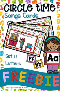 This set of circle time song cards is all about teaching Pre-K and Kindergarten students letters in Kindergarten Songs, Preschool Songs, Preschool Curriculum, Preschool Activities, Montessori Elementary, Circle Time Songs, Circle Time Activities, Alphabet Songs, Alphabet Activities