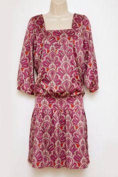The Limited Women Dress Blouson Pink Purple Square Neck Persian Paisley M Medium