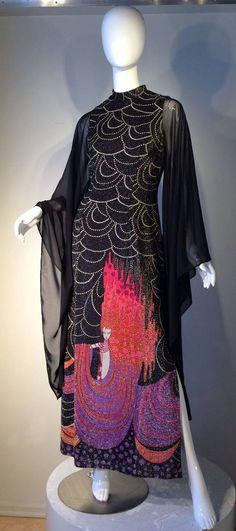 """""""Erte"""" Evening Gown ca.1970s long dress unique novelty print artist black pink purple"""