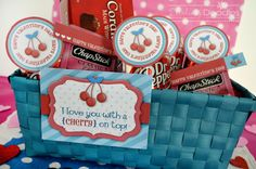 """Printable """"I LOVE YOU WITH A CHERRY ON TOP"""" Gift Tags~ Gift basket idea with Cherry Dr. Pepper, Cherry Chapstick, Cherry Chocolate Cordial Candies, and other cherry items!"""