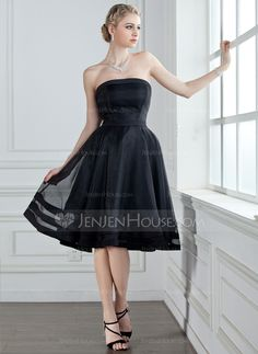 A-Line/Princess Strapless Knee-Length Zipper Up Strapless Sleeveless No Black Spring Summer General Plus Organza Bridesmaid Dress