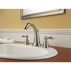 Delta Windemere Brushed Nickel 2-Handle Widespread WaterSense Bathroom Faucet (Drain Included)  Brushed nickel finish bathroom faucet from the Windemere