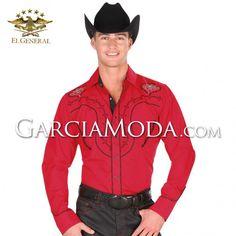 Camisas Charras El General Western Wear 33894GM En Color Rojo Decoracion Tribal Western