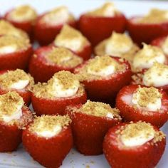Strawberry Bites - Ingredients 1 8 oz package cream cheese 1/2 cup confectioner's sugar 2 teaspoons vanilla extract 2 tablespoons graham cracker crumbs 12 large fresh strawberries hollowed out Hollow out strawberries.Combine confectioner's sugar, vanilla extract and cream cheese in a bowl. Beat until smooth. Add mixture to a plastic ziplock bag. Snip off one corner of the bag and pipe cream cheese mixture into the hollowed out strawberries. Refrigerate until set