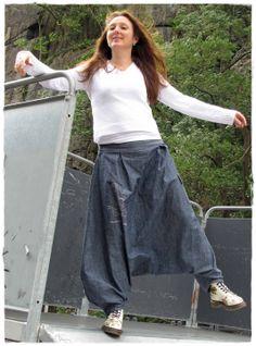 Sarouel/Baggy jeans femme Xtrem taille mi-basse : Pantalons, jeans, shorts par khouture