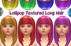 Lollipop Textured Long Hair with Bangs in 10 Colors.